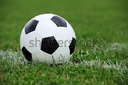 Futbol topu yeşil ot spor arka plan alan Stok fotoğraf © byrdyak