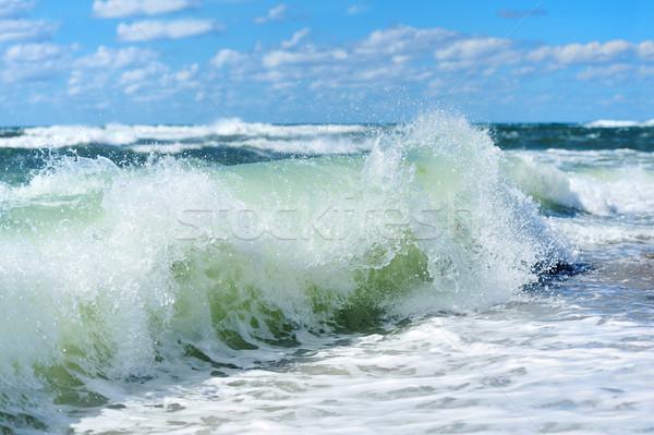 Plaj dalga görmek tüp gökyüzü su Stok fotoğraf © byrdyak