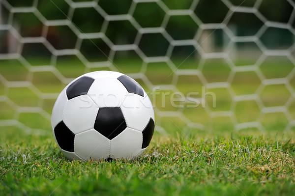Balón de fútbol primer plano hierba verde hierba deporte verano Foto stock © byrdyak