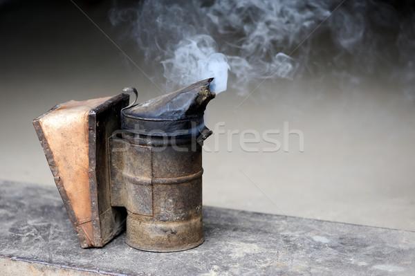 Abeille fumeur caisse ferme main Photo stock © byrdyak
