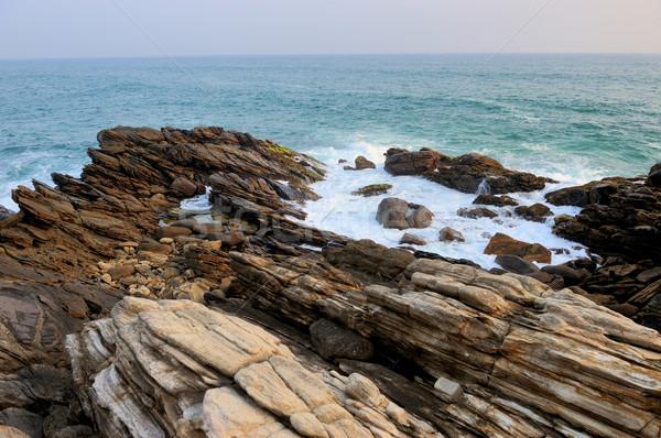 Dalga okyanus dalgası okyanus kum plaj doku Stok fotoğraf © byrdyak