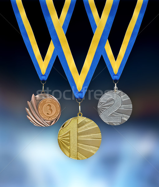 Gold, silver and bronze medals Stock photo © byrdyak