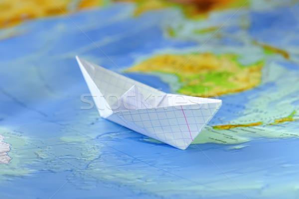 紙 ボート 地図 世界 水 ストックフォト © byrdyak