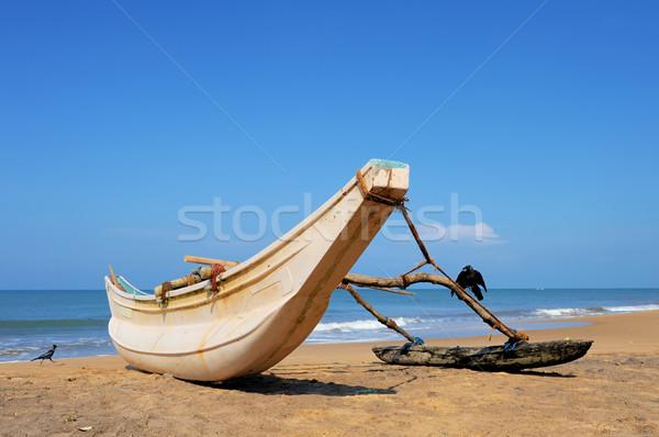 Balık tutma tekneler boş plaj Sri Lanka Stok fotoğraf © byrdyak
