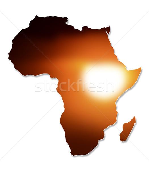 ストックフォト: アフリカ · 地図 · デザイン · 孤立した · 白 · 日没
