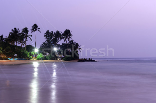 Tropikalnych wygaśnięcia piękna palm plaży niebo Zdjęcia stock © byrdyak