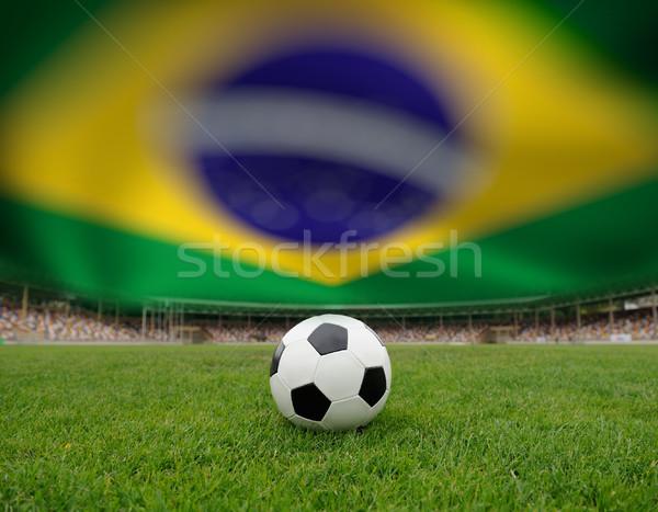 ストックフォト: サッカー · サッカーボール · フィールド · スタジアム · ブラジル · フラグ