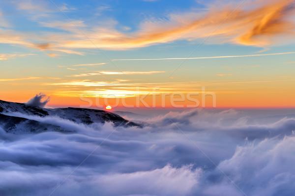 Kış dağ ahşap orman gün batımı kar Stok fotoğraf © byrdyak