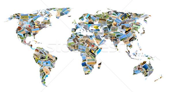 Wereldkaart foto's collectie verschillend vorm zee Stockfoto © byrdyak