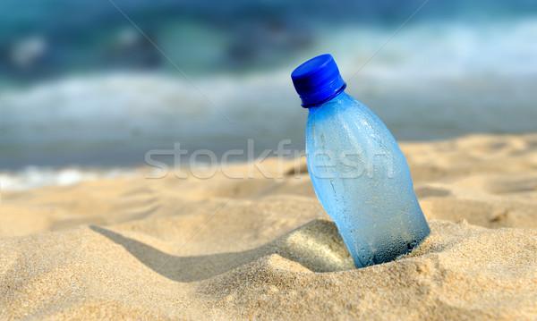 şişe tatlısu kum plaj su gıda Stok fotoğraf © byrdyak