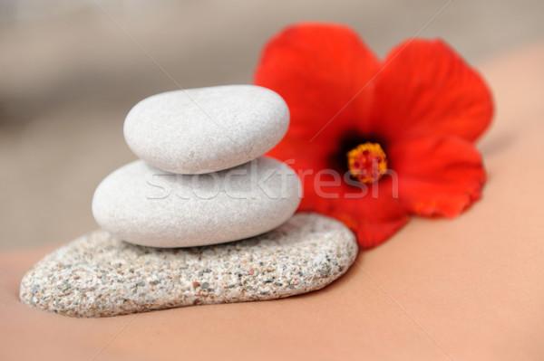 Bitter round stones on the body girl Stock photo © byrdyak