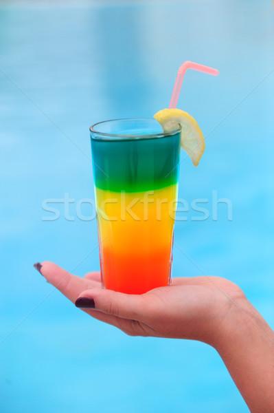 Cocktail zwembad voedsel blad groene aardbei Stockfoto © byrdyak