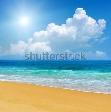 Oceaan golven blauwe hemel Sri Lanka water zon Stockfoto © byrdyak