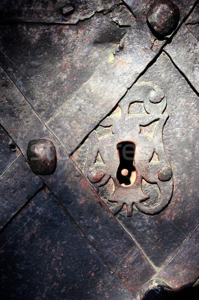 Old lock in the ancient doorway Stock photo © byrdyak