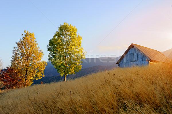 горные осень пейзаж домах небе весны Сток-фото © byrdyak