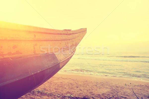 Foto stock: Pesca · barcos · vacío · playa · Sri · Lanka