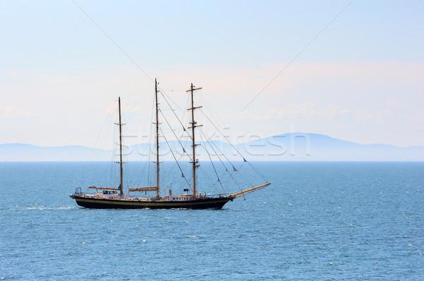 Zeilschip schip zeilen zee berg oceaan Stockfoto © byrdyak