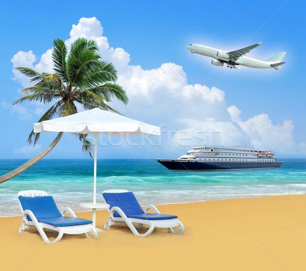 Seyahat şezlong palmiye uçak beyaz şemsiye Stok fotoğraf © byrdyak