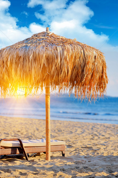 Guarda-sol cadeiras de praia guarda-chuva verão dia praia Foto stock © byrdyak