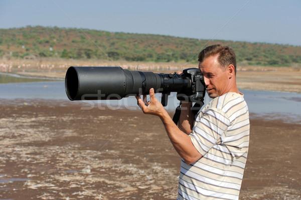 Przyrody fotograf charakter twarz pracy krajobraz Zdjęcia stock © byrdyak