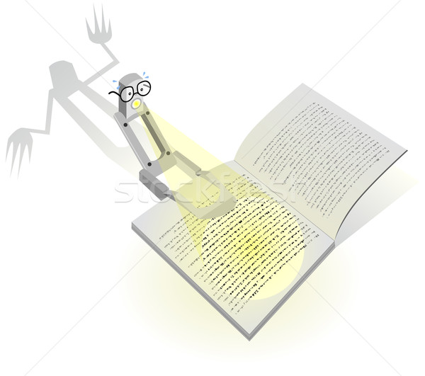 Vector cartoon lezing lamp scary boek Stockfoto © Bytedust
