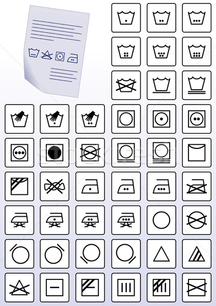 Vector set of apparel care instruction symbols. Stock photo © Bytedust