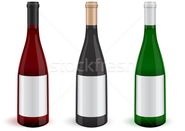 Három valósághű bor üvegek illusztráció összes Stock fotó © Bytedust
