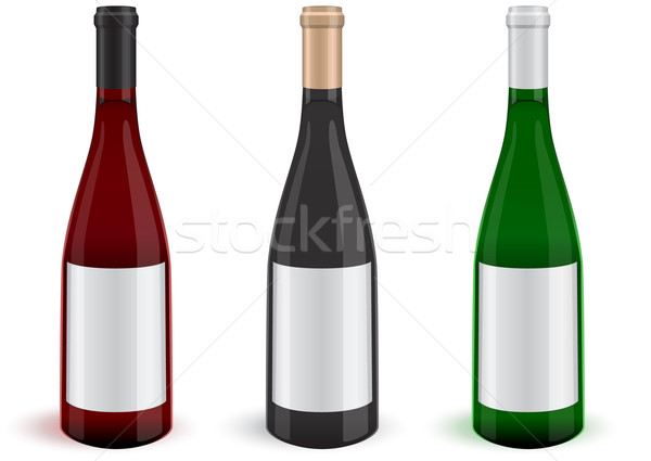 Tres realista vino botellas ilustración todo Foto stock © Bytedust