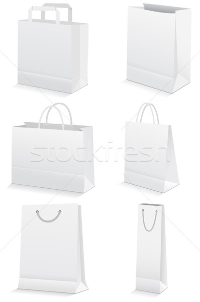 Vector illustration set of internationVector illustration set of paper shopping or grocery bags. Stock photo © Bytedust