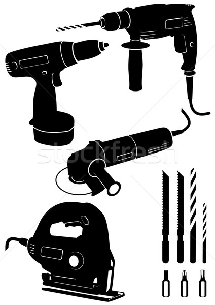 Vector illustration set of 4 different power tools. Stock photo © Bytedust