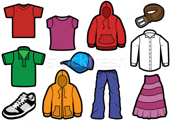 Clothing symbol set with bold outlines. Stock photo © Bytedust