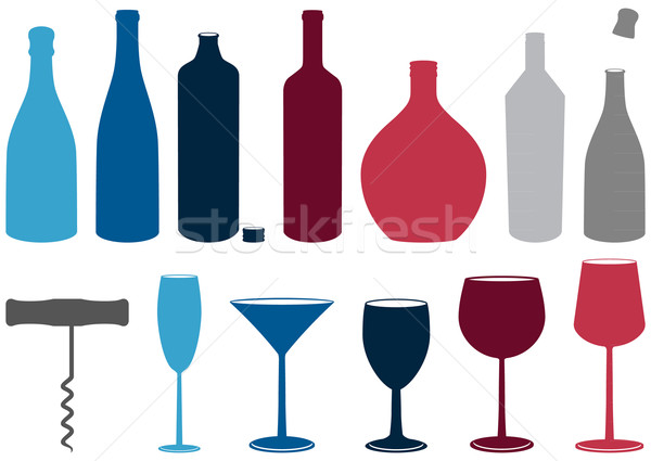 Vector set of liquor bottles, glasses and corkscrew. Stock photo © Bytedust