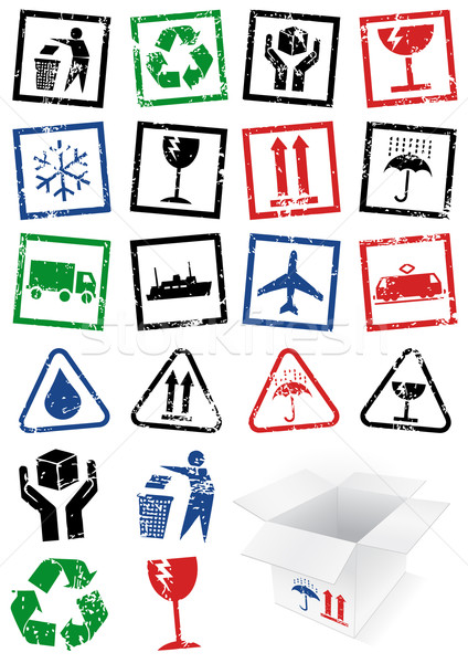 Vector illustration set of packing symbol stamps. Stock photo © Bytedust