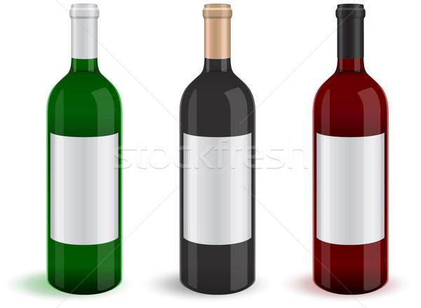 üç gerçekçi şarap şişeler örnek tüm Stok fotoğraf © Bytedust