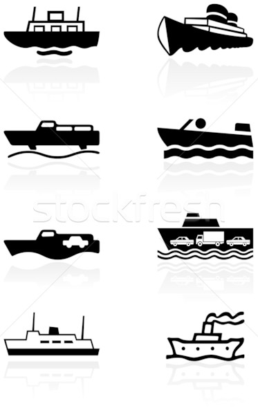 Boat symbol vector illustration set. Stock photo © Bytedust