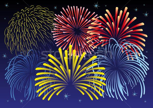 Tűzijáték vektor illusztráció csillagok összes tárgyak Stock fotó © Bytedust