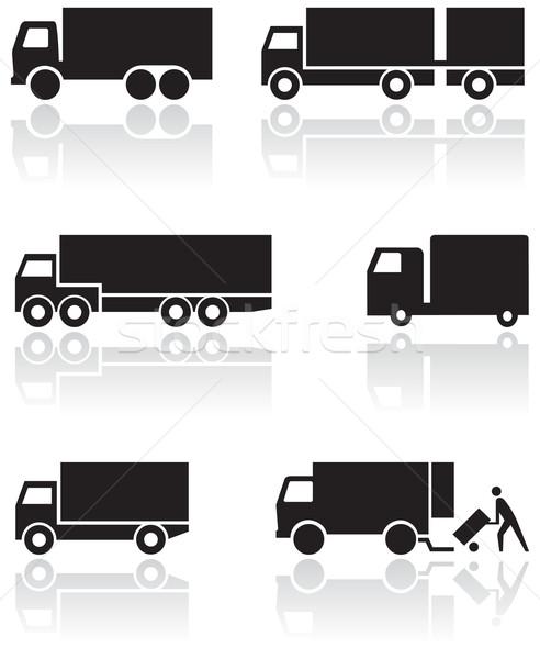 Truck or van symbol vector set. Stock photo © Bytedust
