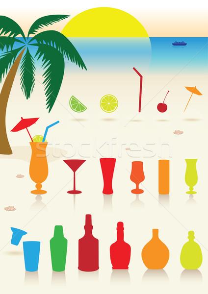 Tropikal içecekler ayarlamak gözlük kokteyl dekorasyon Stok fotoğraf © Bytedust