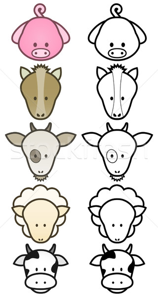 Stock photo: Vector illustration set of cartoon farm animals.