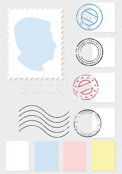 Stock photo: Postage stamp vector illustration set.