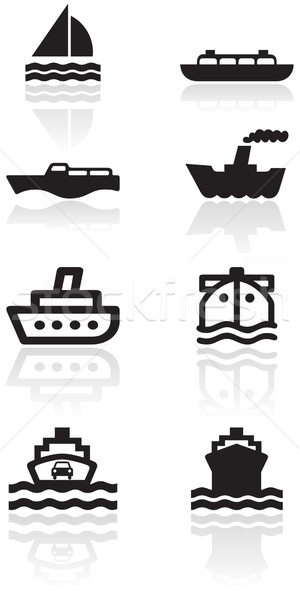 Csónak szimbólum szett vektor különböző illusztrációk Stock fotó © Bytedust
