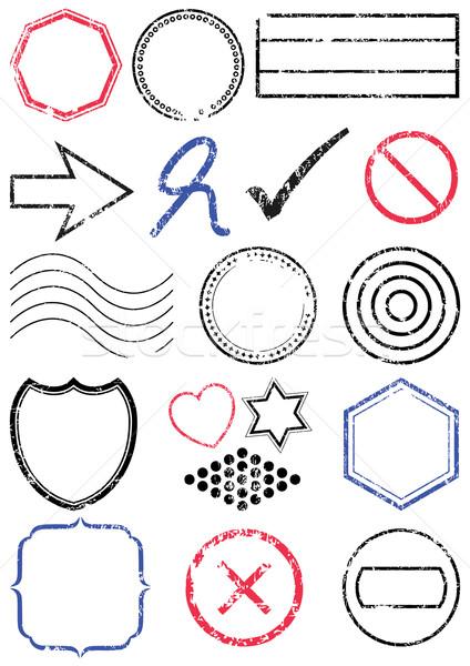 Damga ayarlamak farklı pulları tüm vektör Stok fotoğraf © Bytedust