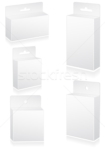 Vector illustration set of blank retail boxes with hang slot. Stock photo © Bytedust
