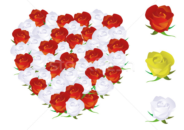 Vector illustration of a heart shape made from roses. Stock photo © Bytedust