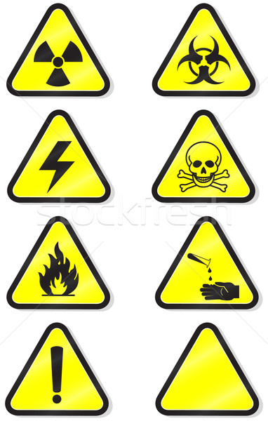 Vector set of chemical warning signs. Stock photo © Bytedust