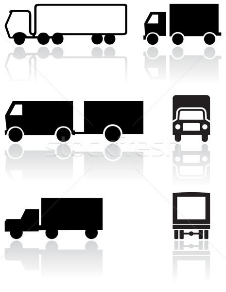 Teherautó furgon szimbólum vektor szett különböző Stock fotó © Bytedust