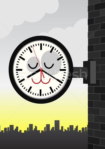 Vector character illustration of a cat station clock. Stock photo © Bytedust