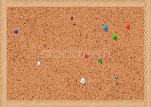 Vector illustration of a blank cork notice board with thumbtacks. Stock photo © Bytedust