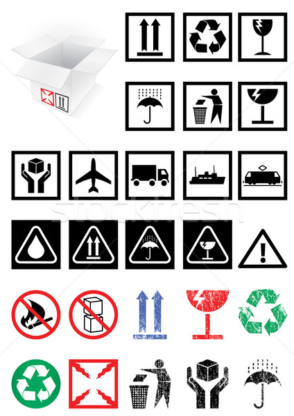 Vector illustration set of packing symbols and labels. Stock photo © Bytedust