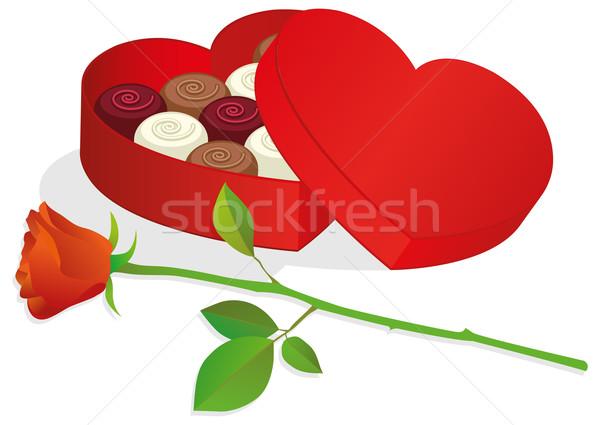 Serca polu czerwona róża obiektów Zdjęcia stock © Bytedust